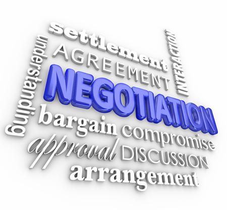 wort: Negotiation Wortcollage in 3D-Buchstaben mit Begriffen wie Abrechnung, Vereinbarung, Interaktion, Verstehen, Schnäppchen, Anordnung, Diskussion, Zustimmung
