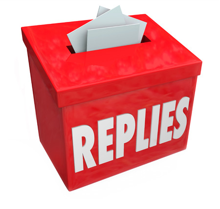 replies: Replies word on red box collecting responses or feedback to a question or call for new ideas or comments