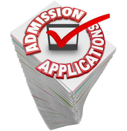 admissions: Admission Applications 3d red words on a stack or pile of paperwork or documents from students applying to attend a college, university or school Stock Photo