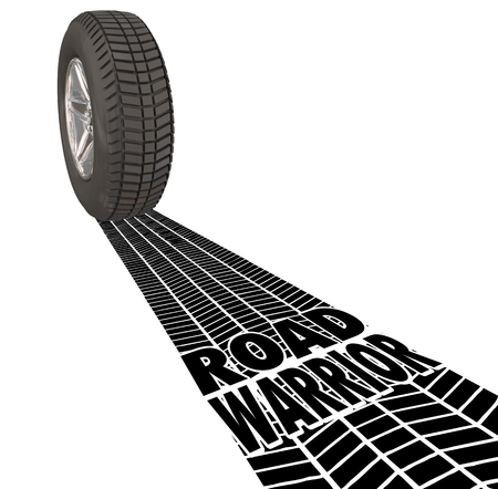 tire tread: Road Warrior words in tire tracks behind a wheel to illustrate a traveling salesperson who works away from home or traveler working outside the office