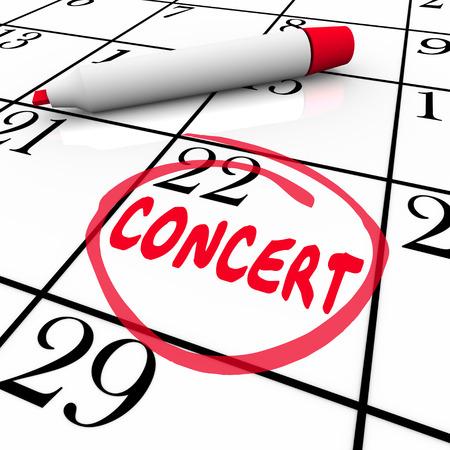 chanteur opéra: mot de concert sur un calendrier ou un calendrier pour vous rappeler d'un événement de performance pour un chanteur, groupe musical ou un récital Banque d'images