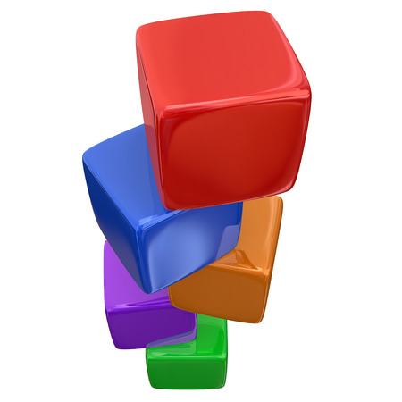 fundamentals: Stacked colorful cubes, boxes or blocks for teaching and learning the basic fundamentals of a subject