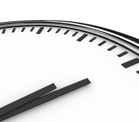 A clock with white face and hands pointing to blank copyspace for placing your words or message Reklamní fotografie