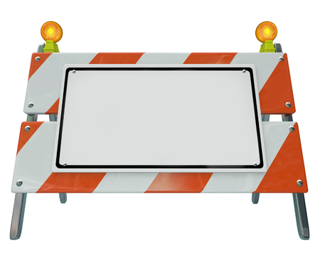 barrier: Construction barricade, barrier or sign to illustrate danger or warning with blank space for your message Stock Photo