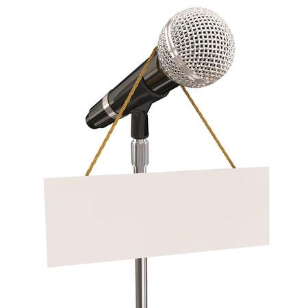 cantando: Micr�fono en stand con signo y copyspace en blanco para sus propias palabras o mensaje para ilustrar mic noche, concurso de karaoke abierto o stand-up comedy o cantar Foto de archivo