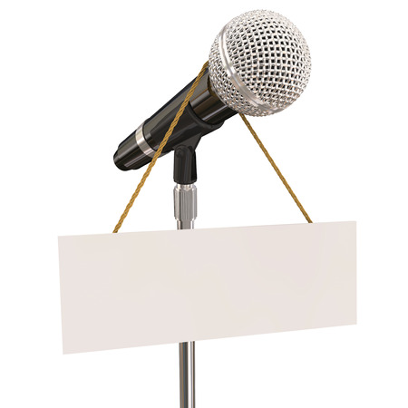 comedy: Microphone on stand with sign and blank copyspace for your own words or message to illustrate open mic night, karaoke competition or stand-up comedy or singing