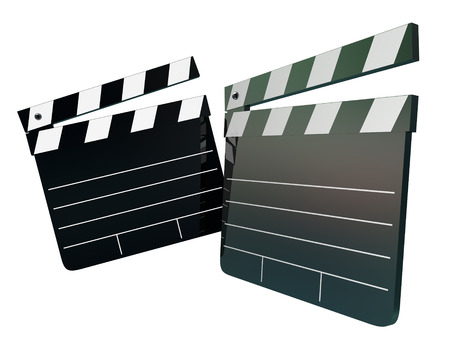 talent show: Two movie clapper boards with blank space to place your words or message, illustrating entertainment, film making, auditions, talent show or directing