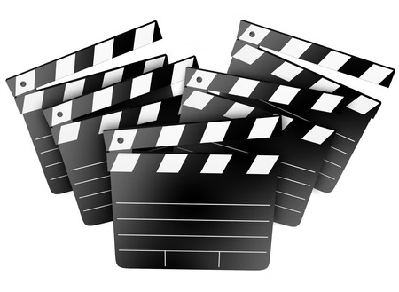 filmmaking: Film studio clapper boards to illustrate cinema, movies, entertainment and filmmaking, directing or producing