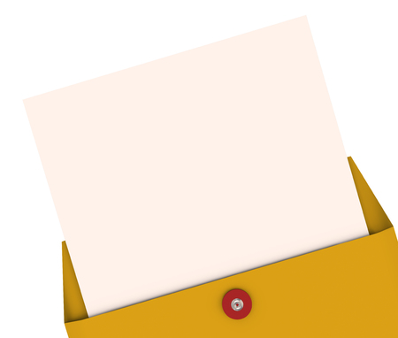 announced: Opening an envelope and pulling out a letter with blank space for your words, text or top secret message