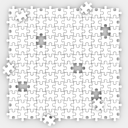 unsolved: Puzzle pieces background with holes missing trying to fill the empty spaces in playing game