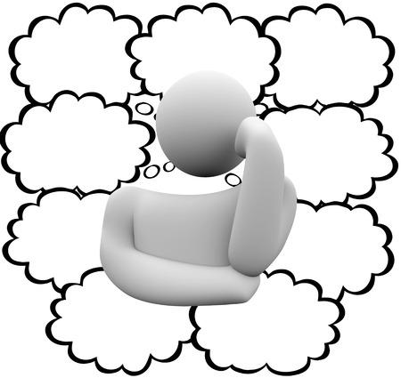 pensador: Pensador y muchos de pensamiento nubes o burbujas con un mont�n de ideas y el pensamiento creativo y el espacio en blanco para su palabras, texto, mensaje o copia