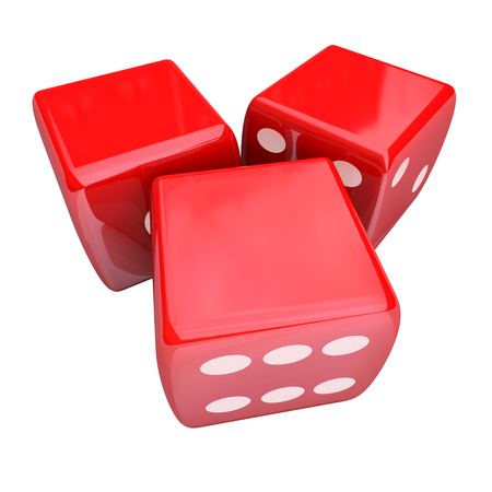 taking a risk: Three red dice rolling to place or take a bet and gamble in a casino, with blank copy space for your words, text or message