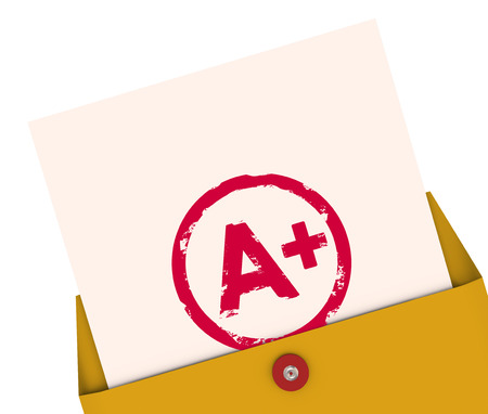 scores: Report Card with A+ or Plus stamped on it within a yellow envelope to show your results, score, evlatuion, rating or review for a class or course Stock Photo