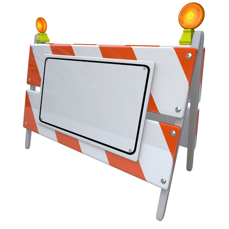 blockade: Construction or road barrier sign on an angle with white blank copy space for placing your words or announcement or message Stock Photo