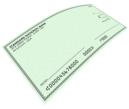 blank check: Blank check on green paper for you to send money from your bank  or savings account, with blank copy space for your words or text Stock Photo