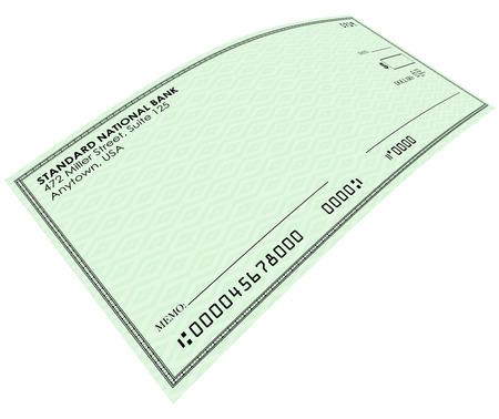 cheque en blanco: Cheque en blanco en el papel verde para que usted env�e el dinero de su banco o cuenta de ahorros, con copia espacio en blanco para sus palabras o texto