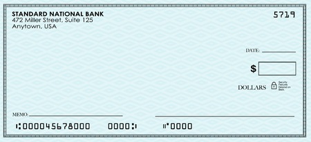 Blank check for you to send money from your bank or savings account
