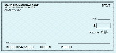 cheque en blanco: Cheque en blanco para que usted envíe el dinero de su cuenta bancaria o de ahorro