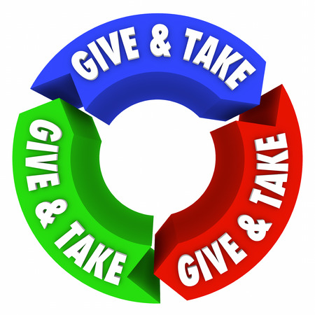 granting: Give and Take words on arrows in an endless cycle or loop of bartering, trading, sharing and compromise in commerce or charity Stock Photo