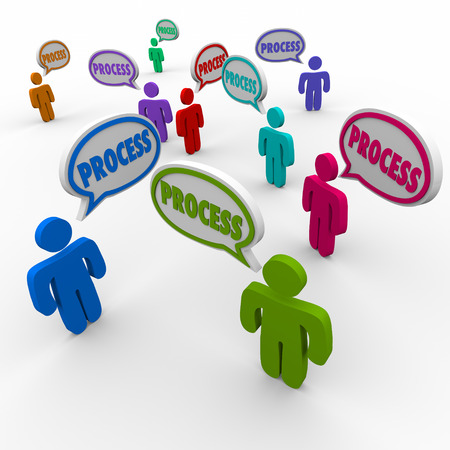 procedures: Process word in speech bubbles above people, team members, employees or workers following an established and official set of instructions in a procedure or system