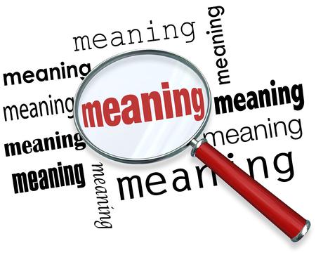 Signification mot sous une loupe pour illustrer cherchez, chercher et trouver une définition, le contexte, le but, la mission ou de conviction