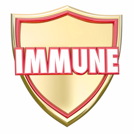 immunize: Immune word in red 3d letters on a gold shield to illustrate immunity and protection from risk of diseases, virus or other health threats