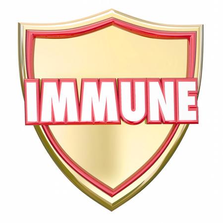 inmunidad: palabra inmune en 3d letras rojas sobre un escudo de oro para ilustrar la inmunidad y la protección frente al riesgo de enfermedades, virus u otras amenazas para la salud