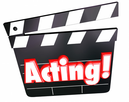 role: Acting word in red 3d letters on a movie, film, hollywood or cinema clapper board to illustrate an actor or actress performing in a drama or comedy role Stock Photo