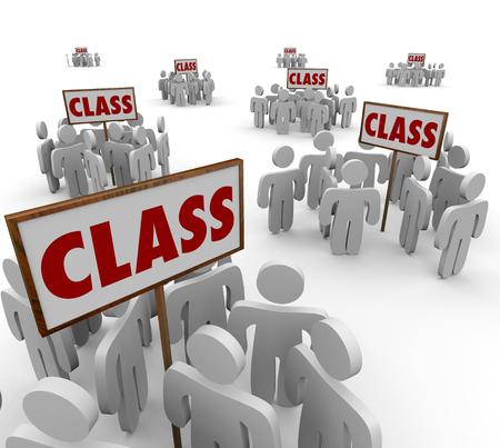 accion: Signos de clase y las personas o los estudiantes reunidos en grupos alrededor de ellos para ilustrar los cursos en una escuela o una demanda colectiva legal en la corte