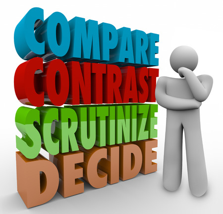 deciding: Compare Contrast Scrutinize Decide 3d words beside a thinking person pondering a major choice, selection or options
