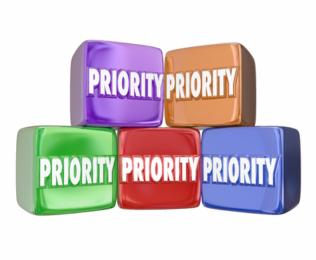 considerations: Priority word on 3d cubes or blocks to illustrate ranking the most important jobs, tasks, projects or considerations to pay attention and complete