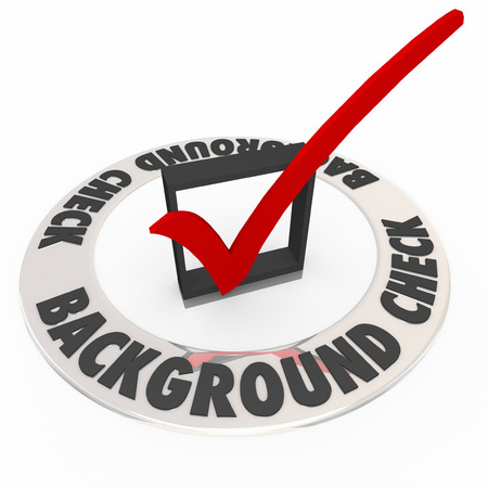 Background Check words in box with mark to illustrate a police or criminal research or investigation in hiring workers or employees Stock Photo
