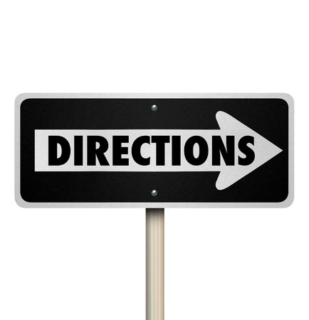 supervise: Directions word on a one way street or road sign to illustrate intructions, leadership, management or guidance through a challenge, project, task or job Stock Photo
