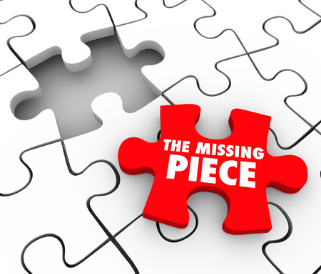 red puzzle piece: The Missing Piece words on a red puzzle piece to complete a puzzle and finish, end or wrap up a project, job, task or challenge