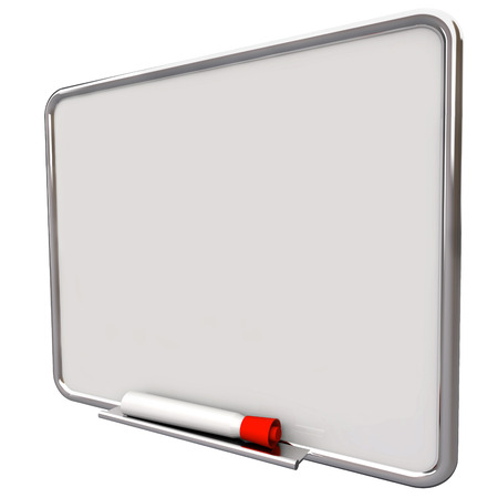 white board: Dry erase board on angle for writing messages with red pen or marker, communication of a to do list Stock Photo