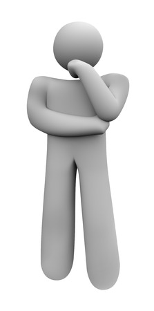 the thinker: Thinking person or thinker lost in thought with ideas of solving a problem, doing a task or working through confusion Stock Photo