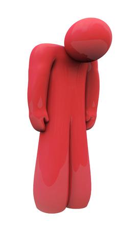 persona deprimida: Red 3d persona triste con la cabeza hacia abajo, solo, aislado o deprimido con sentimientos y emociones hacia abajo