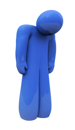 feel feeling: Blue sad 3d person with head down, alone, isolated or depressed with down feelings and emotion Stock Photo