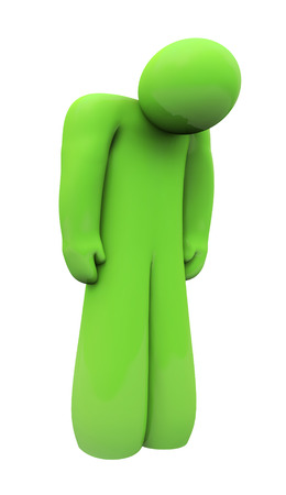 alone person: Green sad 3d person with head down, alone, isolated or depressed with down feelings and emotion