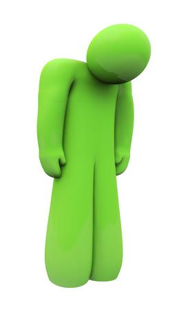 persona deprimida: Verde 3d persona triste con la cabeza hacia abajo, solo, aislado o deprimido con sentimientos y emociones hacia abajo