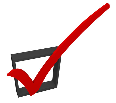 approval rate: Red 3d check mark in a black box to illustrate approval or acceptance, a good feedback rating or response in a survey Stock Photo