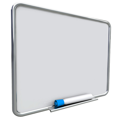 erase: Dry erase board on angle for writing messages with blue pen or marker, communication of a to do list