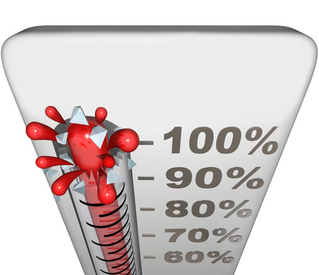 reached: Thermometer or gauge measuring success level with 100 percent completion for total goal reached and blank copy space for your text or message Stock Photo