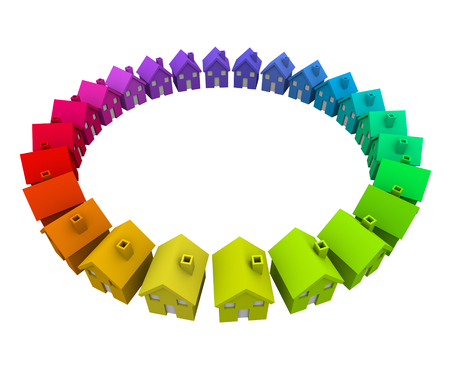 cul de sac: Colorful homes or houses in a ring or circle as a neighborhood, community or society in action