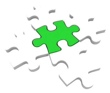 puzzle background: One unique green puzzle piece among 5 pieces to illustrate being different, unique, special and uncommon part of a solution to a problem