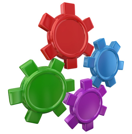 in unison: Four colorful gears in a machine or device turning with blank copy space for your text or message
