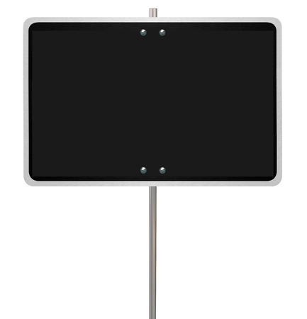 blank spaces: Big blank black warning street or road sign with copy space to communicate your news, announcement, text or message Stock Photo
