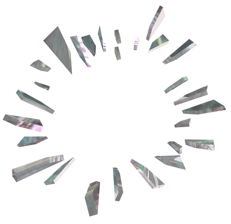 shards: Shared of broken glass in a big burst or explosion for a big announcement or breaking news with blank copy space for your text or message