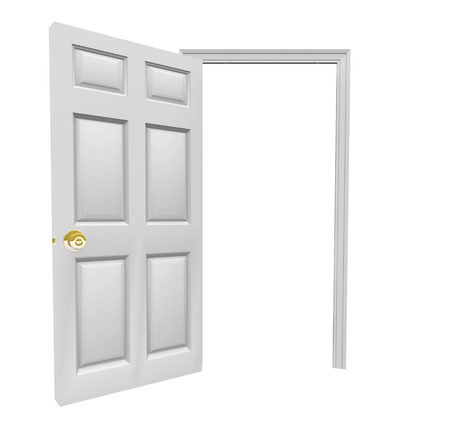 you are invited: Doorway opening to invite you inside with blank copy space for your message in open door Stock Photo