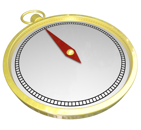 Gold compass with blank white copy space on its face for your copy or text for help, direction, navigation or guidance Stock Photo